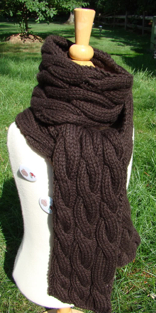 Single Cable Knit Scarf Pattern