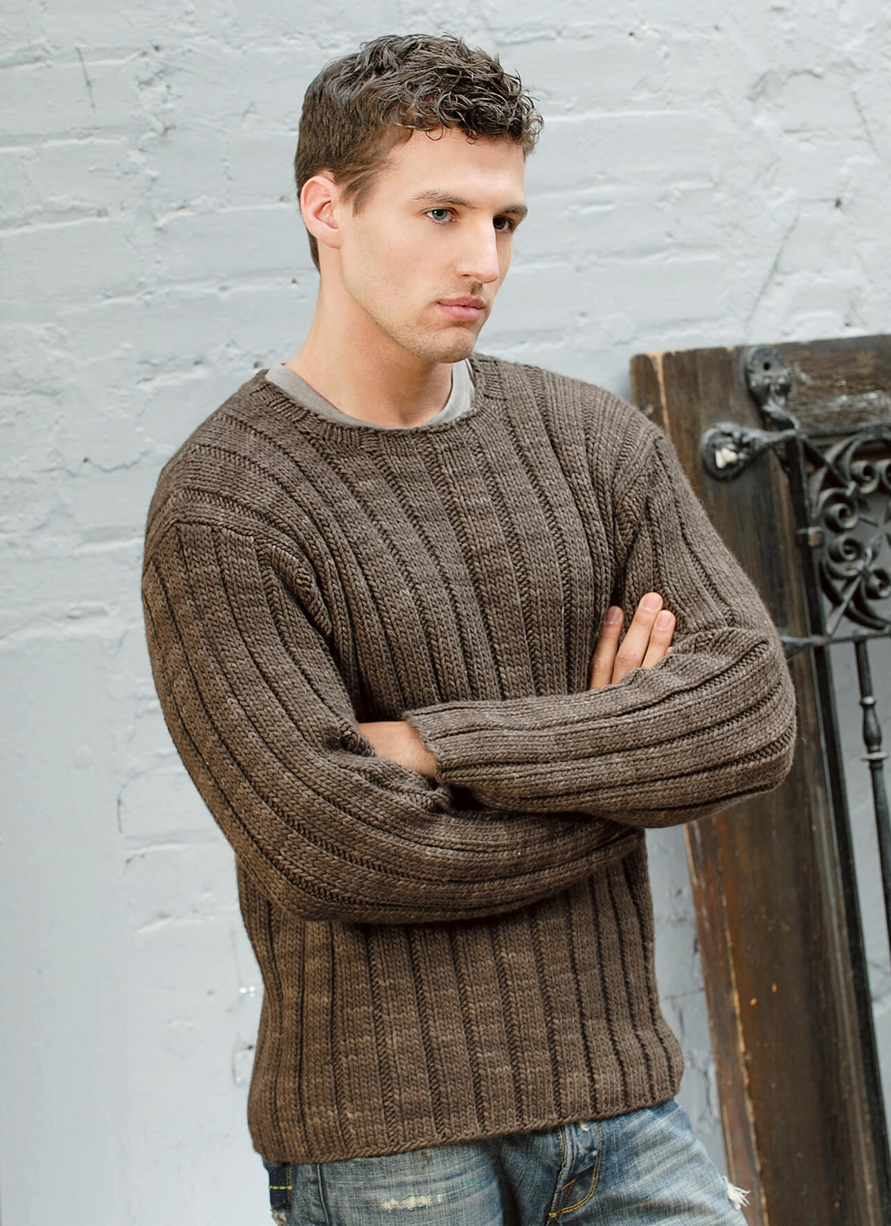 Men's Ribbed Sweater - Blue Sky Fibers