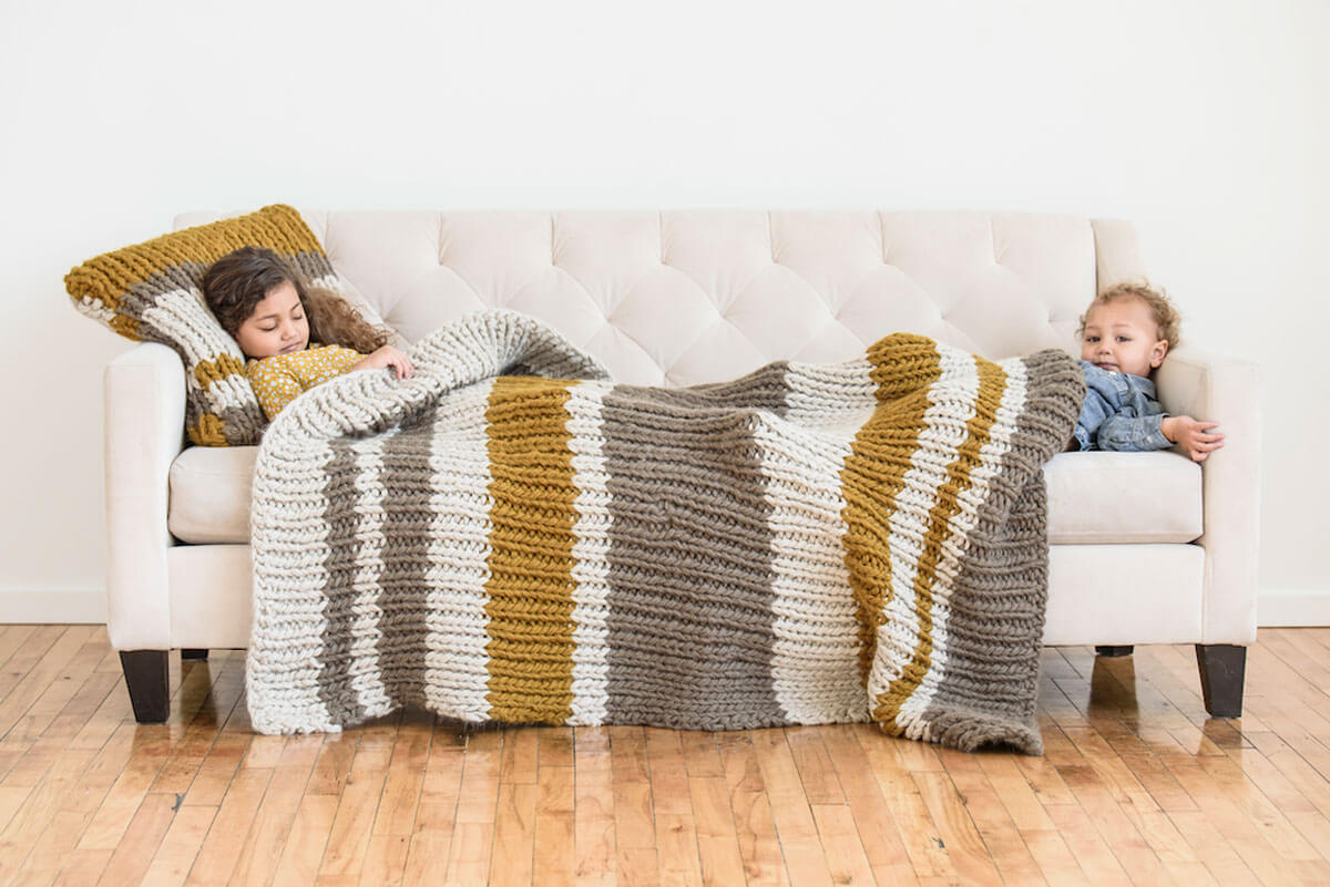 Bulky Striped Throw